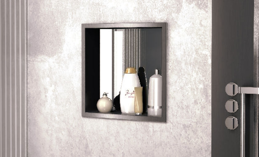 Recessed stainless steel container with mirror (PWNL 300)