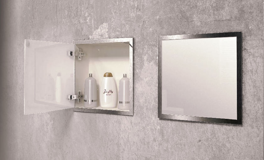 Recessed stainless steel container with doors in frame (PWD R 300)
